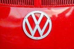 Kyiv, Ukraine - September 30, 2018: Volkswagen Logo On Old Volkswagen Transporter. Volkswagen Logo On Old Volkswagen Transporter stock photography