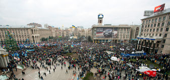 KYIV, UKRAINE: Top view of the thousands people in the crowd of anti-government demonstration during the week of protest Royalty Free Stock Photos