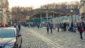 Kyiv, Ukraine - 04.06.2019: Tourists walking in the historical center of Kyiv royalty free stock image