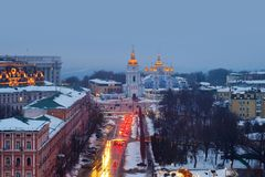 Kyiv, Ukraine, with a view of the St Michaels Golden - Domed Monastery and traffic. Kiyiv, Ukraine. Sunset in Kyiv, Ukraine, with a view of the St Michaels Royalty Free Stock Photo