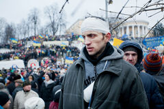 KYIV, UKRAINE: Wounded man in bandages, the victim Stock Photos