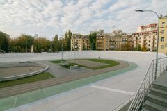 Kyiv velodrome in autumn paintings and little vintage effect. stock photos