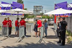 Kyiv Wine Festival by Good Wine in Ukraine. Security and guide staff works at Kyiv Wine Festival checkpoint. Festival of wine and healthy food was organized by stock photo