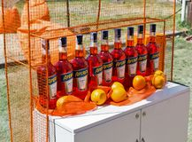 Kyiv Wine Festival by Good Wine in Ukraine. Aperol Spritz booth at Kyiv Wine Festival. Big festival of wine and healthy food was organized by Good Wine company royalty free stock image