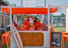 Kyiv Wine Festival by Good Wine in Ukraine. Aperol Spritz booth at Kyiv Wine Festival. Big festival of wine and healthy food was organized by Good Wine company Stock Photo