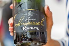 Kyiv Wine Festival by Good Wine in Ukraine. Imperial Rovelatts cava sparkling wine closeup at Kyiv Wine Festival. 77 winemakers from around the world took part stock photos