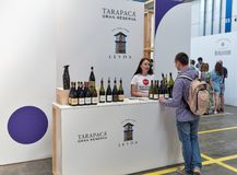 Kyiv Wine Festival by Good Wine in Ukraine. People visit Kyiv Wine Festival Tarapaca booth. Festival of wine and healthy food was organized by Good Wine company Royalty Free Stock Images