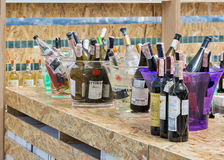 Kyiv Wine Festival in Kiev, Ukraine. Different wines in ice buckets presented on the shelf of outdoor food court at Kyiv Wine Festival organized by Good Wine Royalty Free Stock Photography