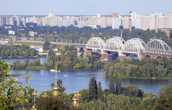 Kyivs landscape. View at the Left bank of the Dnieper from the right bank of the river in Kiev Stock Photography