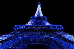 Kyla den blåa Eiffeltorn Arkivfoto