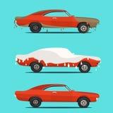 Kyla den plana illustrationen på den smutsiga och rena bilen washetappprocess från till vektor illustrationer