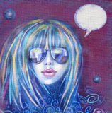 Kyla modekvinnan i solglasögon sexig flicka Etikett för tetidtappning stock illustrationer
