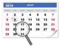 Kyla och önska kalendern 2018 med förstoringsglaset stock illustrationer