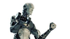 Kyla starka robotelevatorhantlar Arkivbild