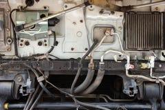 Kyla systemet för luft för lastbil för vattenrör det betingande royaltyfria bilder
