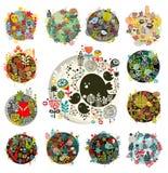 Kyla uppsättningen av runda blom- bollar med fåglar och djur Royaltyfri Bild