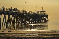 Kyla ut på solnedgången för brygga nästan Fotografering för Bildbyråer