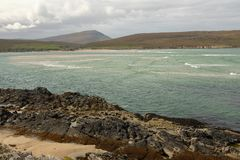 Kyle of Durness. A view across the waters of the Kyle of Durness to the shore and hill, Fashven, of Cape Wrath, Scotland royalty free stock photography