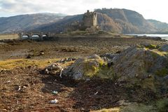 Kyle of Lochalsh, Scotland - circa March 2013: A view of Eilean Donan Castle Royalty Free Stock Photography