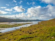 Kyle of Lochalsh, Wester Ross. Kyle of Lochalsh, from Bealach na Bà. Wester Ross in the Scottish Highlands. Sea loch, blue skies, light clouds, sunshine royalty free stock photos