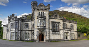 Kylemore Abbey. In Connemara mountains panoramic - Ireland Royalty Free Stock Photo
