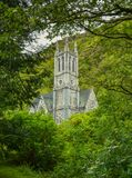 Gothic Church near Kylemore Abbey, County Galway, Ireland. Kylemore Abbey is a Benedictine monastery founded in 1920 on the grounds of Kylemore Castle, in stock photo