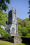 Kylemore Abbey and gothic church in county Galway Stock Photo
