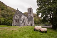 Kylemore's Neo-Gothic Church, County Galway, Ireland. Kylemore has been the romantic nineteenth-century Irish castle overlooking a lake in the West of stock photography
