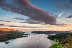 Kyles of Bute at Sunset. The Kyles of Bute, also known as Argyll's Secret Coast, in the Firth of Clyde, looking down the eastern Kyle with warm sunlit hilltops Royalty Free Stock Photo