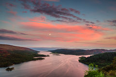 Kyles of Bute in Twilight. The Kyles of Bute, also known as Argyll's Secret Coast, in the Firth of Clyde, looking down the eastern Kyle after sunset and the moon Stock Image