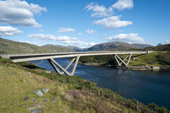 Kylesku Bridge. Crossing the Loch a' Chàirn Bhàin in Sutherland Royalty Free Stock Photos
