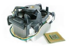 Kylfläns med CPU i isometriskt Arkivbilder