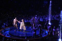 Kylie Minogue in overleg Royalty-vrije Stock Foto