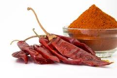 kyligt pulver med röda kyliga torkade chilies Arkivbilder