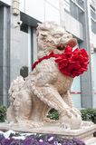 Kylin stone. Kylin wearing red ,because it is in the China traditional Spring Festival royalty free stock image