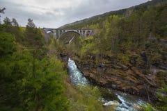 Kylling Przerzuca most Kylling ber - kolejowy most w Rauma Municipa Zdjęcie Stock