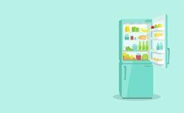 Kylskåp med en öppen dörr Produkter och hushållanordningar Arkivfoton