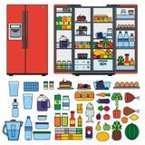 Kylskåpet med produkter sänker linjen vektor Arkivfoton