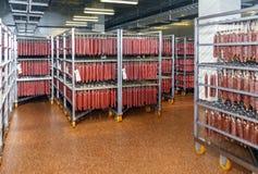 Kylt lager för att lagra kött- och korvprodukter royaltyfri fotografi