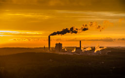 Kymi factory sunset. Kymi factory shot from ski-jumping tower in Kouvola, Finland Stock Images