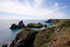 Kynance cove cliffs stock photography