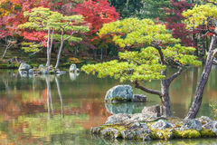 Kyoko-chi or Mirror Pond at Kinkaku-ji Temple in Kyoto Royalty Free Stock Photography