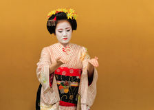 Kyomai Dance Performed by Maiko In Kyoto Royalty Free Stock Photo