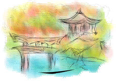 Kyoto. Abstract silhouette on multicolor background royalty free illustration