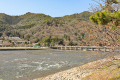 Kyoto Arashiyama - Katsura river side view - Kyoto Japan. Sunday Morning Royalty Free Stock Image