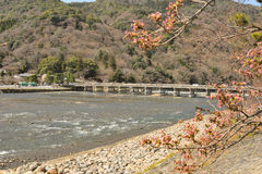 Kyoto Arashiyama - Katsura river side view - Kyoto Japan. Sunday Morning Royalty Free Stock Photo