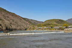 Kyoto Arashiyama - Katsura river side view - Kyoto Japan Royalty Free Stock Photo