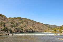 Kyoto Arashiyama - Katsura river side view - Kyoto Japan. Sunday Morning Royalty Free Stock Photography