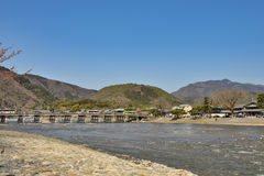Kyoto Arashiyama - Katsura river side view - Kyoto Japan. Sunday Morning Royalty Free Stock Photos