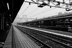 Kyoto-Bahnstation am Snowy-Tag Lizenzfreie Stockfotos